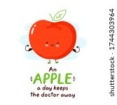 cute happy funny apple. vector... | Shutterstock .eps vector #1744303964