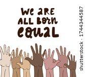 hand lettering anti racist... | Shutterstock .eps vector #1744344587