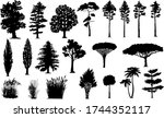 silhouettes of trees and grass | Shutterstock .eps vector #1744352117