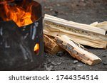Fire In Black Metal Pit At...