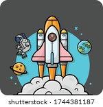 illustration of astronaut...   Shutterstock .eps vector #1744381187