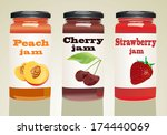 set of jars with berry jam | Shutterstock . vector #174440069