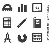 set of monochrome flat maths... | Shutterstock .eps vector #174443687