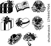 the cute icons of flower...   Shutterstock .eps vector #1744447904