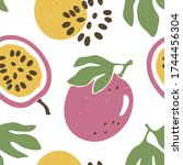 cute passion fruit seamless...   Shutterstock .eps vector #1744456304