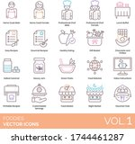 foodies icons including home... | Shutterstock .eps vector #1744461287