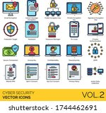 cyber security icons including... | Shutterstock .eps vector #1744462691