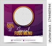delicious food social media... | Shutterstock .eps vector #1744485944