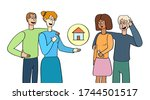 family selling or renting house ... | Shutterstock .eps vector #1744501517