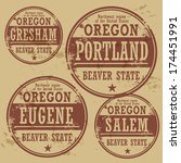 Grunge rubber stamp set with names of Oregon cities, vector illustration