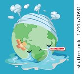 globe with a fever sweating and ... | Shutterstock .eps vector #1744570931