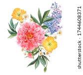 beautiful floral bouquet... | Shutterstock . vector #1744608371