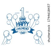 1 june international childrens... | Shutterstock .eps vector #1744618457