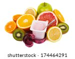 variety of fruits and yogurt in ... | Shutterstock . vector #174464291