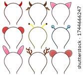 set of headbands  headdresses ... | Shutterstock .eps vector #1744666247