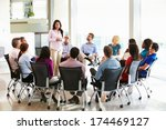businesswoman addressing multi... | Shutterstock . vector #174469127