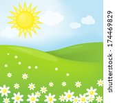spring sunny landscape | Shutterstock .eps vector #174469829