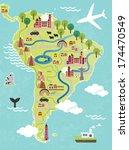 cartoon map of south america | Shutterstock .eps vector #174470549