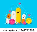 funny healing pills. smiling... | Shutterstock .eps vector #1744719707