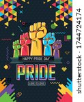pride day poster banner with a4 ...   Shutterstock .eps vector #1744724174