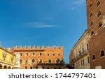 Statue di Dante Alighieri, Loggia del Consiglio lodge, Palazzo Podesta and Palazzo di Cansignorio palace tower in Piazza dei Signori square in Verona city historical centre, Veneto Region, Italy