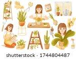 cute gardener girl with plants... | Shutterstock . vector #1744804487