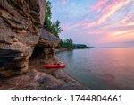 Kayaking Lake Superior Caves near Munising, Michigan.