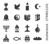 world religious symbols black... | Shutterstock .eps vector #1744811141