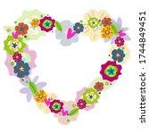 heart of flowers hand drown... | Shutterstock .eps vector #1744849451