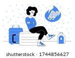 a woman in a blue sweatshirt is ...   Shutterstock .eps vector #1744856627