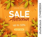 big autumn sale. autumn sale... | Shutterstock .eps vector #1744858004