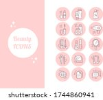 beauty set icons for blog  site ...   Shutterstock .eps vector #1744860941