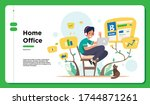 technology   home office  ... | Shutterstock .eps vector #1744871261