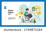 technology   home office  ... | Shutterstock .eps vector #1744871264