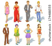 group of  people cartoon. eps10 ... | Shutterstock .eps vector #174488555