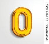 gold metallic helium alphabet... | Shutterstock .eps vector #1744964657
