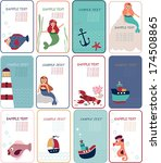 card with mermaids  lighthouse... | Shutterstock .eps vector #174508865
