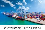 Container Ship In Deep Seaport...