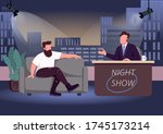 evening talk show flat color... | Shutterstock .eps vector #1745173214