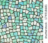 Blue And Turquoise Mosaic Tile...
