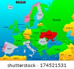 political map of european... | Shutterstock . vector #174521531
