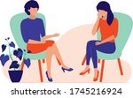 woman talking to a... | Shutterstock .eps vector #1745216924