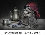 Still Life  Pirate Skull With...