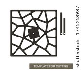 unusual square wall clock with... | Shutterstock .eps vector #1745258987