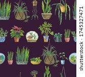 fresh pattern of indoor plants... | Shutterstock . vector #1745327471