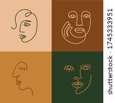 ethnic woman line art icons.... | Shutterstock .eps vector #1745333951