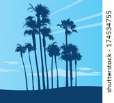 Summer beach scene with palm trees. Vector illustration.