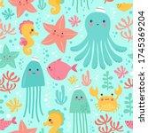 vector illustration with marine ... | Shutterstock .eps vector #1745369204