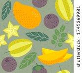seamless pattern. mango ... | Shutterstock .eps vector #1745369981