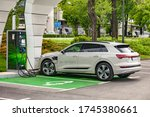 Small photo of Zagreb, Croatia - April 27, 2019: Audi e-tron parked at the charging station. Audi e-tron is first fully electric SUV made by renowned German car manufacturer Audi with range up to 330 km.